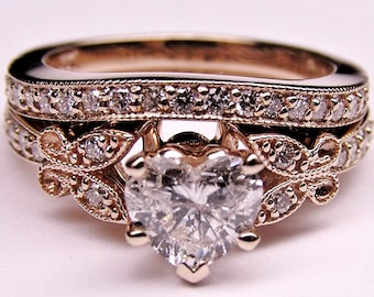 Heart Butterfly Vintage Diamond Bridal Set, April Ring, Forever One Moissanite, rose gold