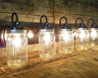 Mason Jar Light 5 - Light, Dark Oil Rubbed Bronze Rustic Mason Jar Vanity Light Bar with Authentic Ball Mason Quart Jars