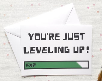 Level Up Birthday Card Gaming Gamer 5x7 Greeting Geeky Nerd