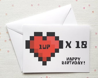 Personalised Age Level Up Birthday Card Gaming Gamer Pixel Heart Geeky Nerd