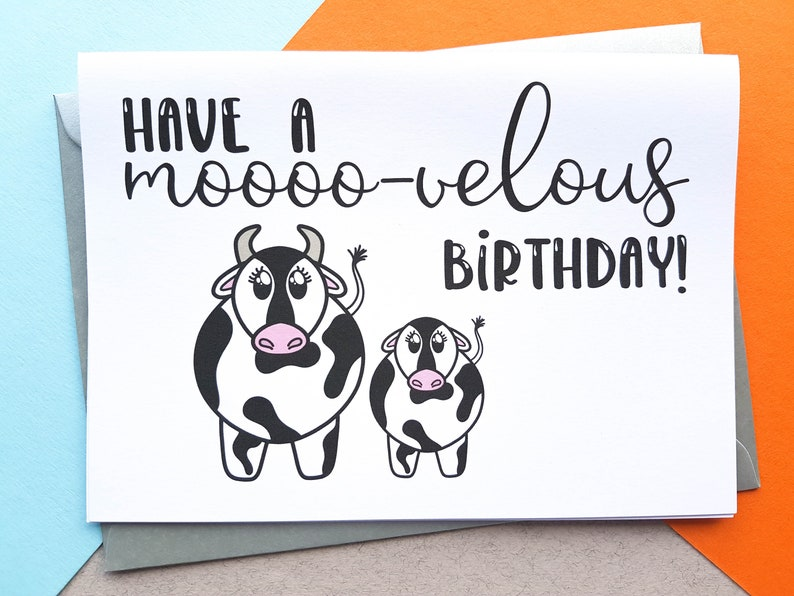 Cow Birthday Card  Animal Pun Card  Funny Boyfriend Card  image 0