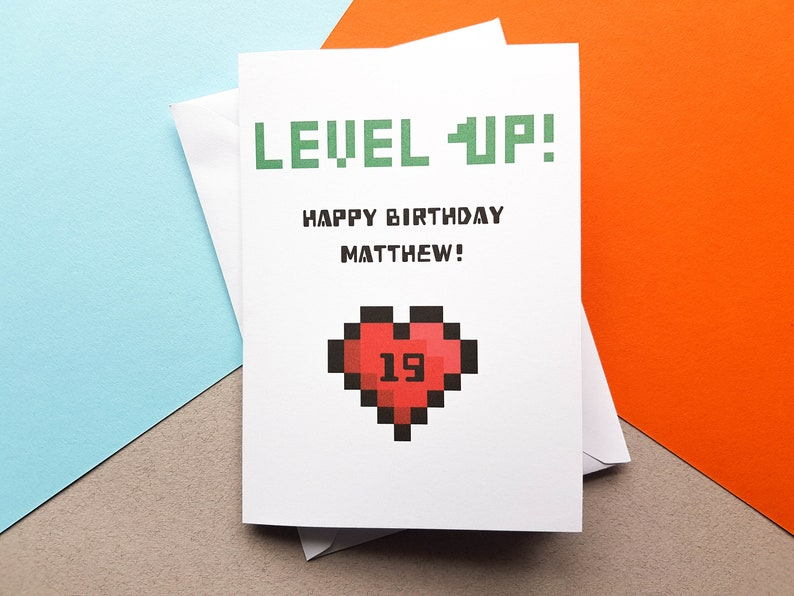Personalised Level Up Birthday Card Gaming