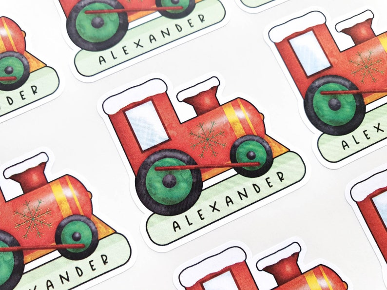 Personalised Christmas Train Gift Tag Stickers  Childrens image 0