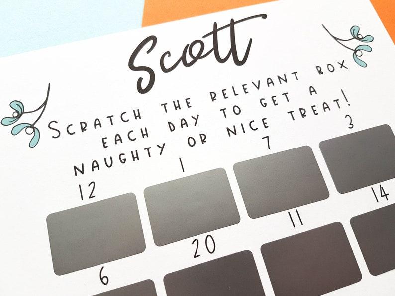 Scratch Off Advent Calendar, Adult Advent Calendar, Kinky Christmas,  Naughty Gift, Boyfriend Advent, Rude Advent Calendar, Personalised Gift