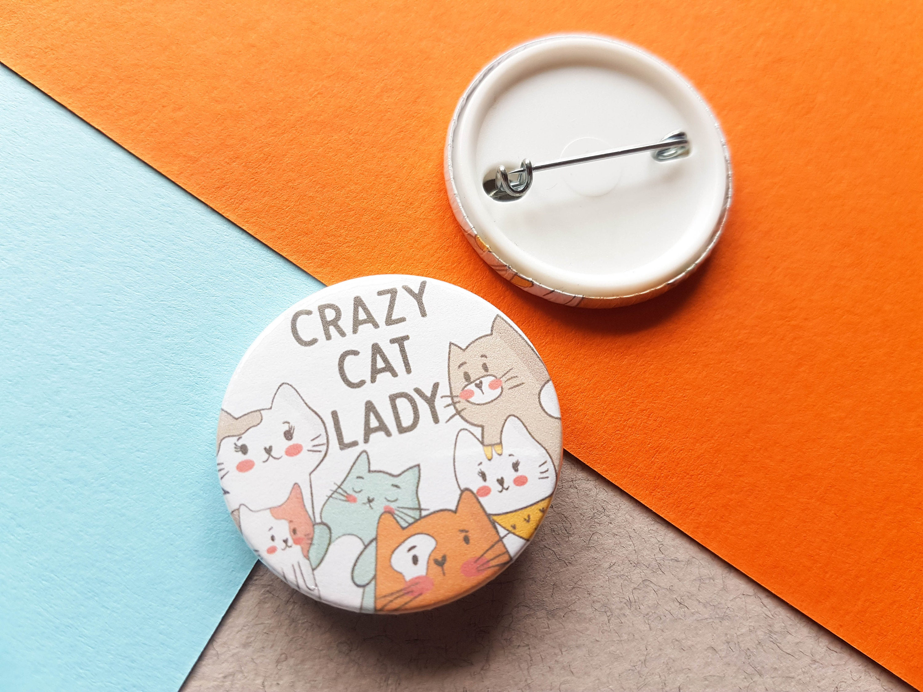 5ccc799453e19 Crazy Cat Lady Badge, Cat Badge, Mum Gift, Mum Birthday Gift, Cat Lover  Gift, Cute Button Badge, Friend Gift, Animal Badge, Small Cat Gift