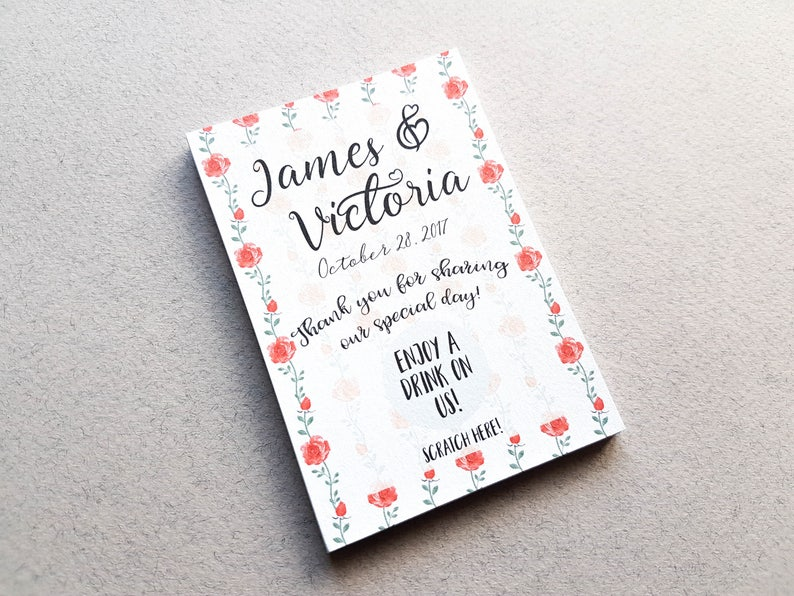 wedding favour scratch off cards free drink cards wedding