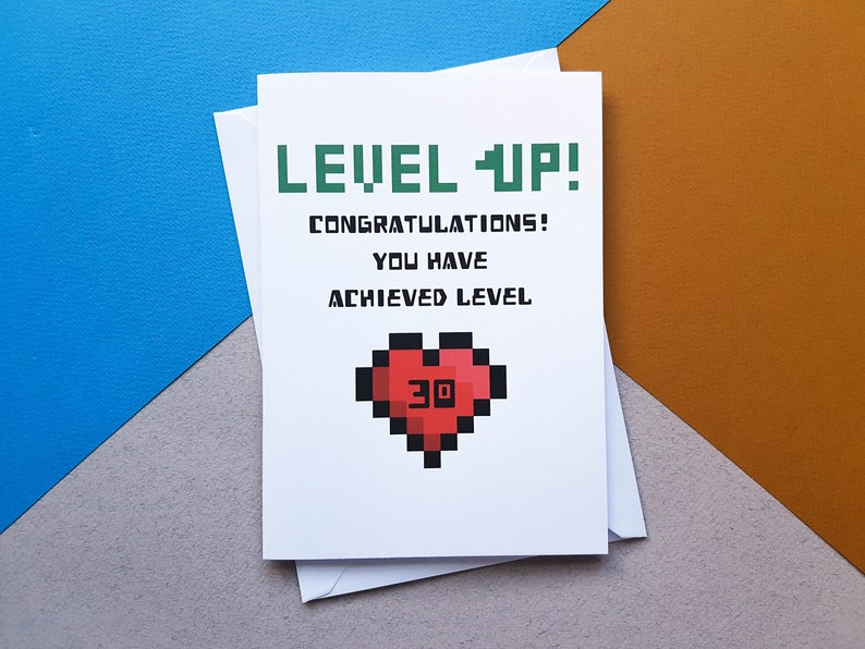 Personalised Level Up Birthday Card Retro Gaming
