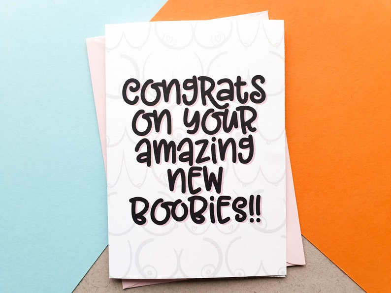 Congrats On Your New Boobs  Congratulations Card  New Boobs image 0