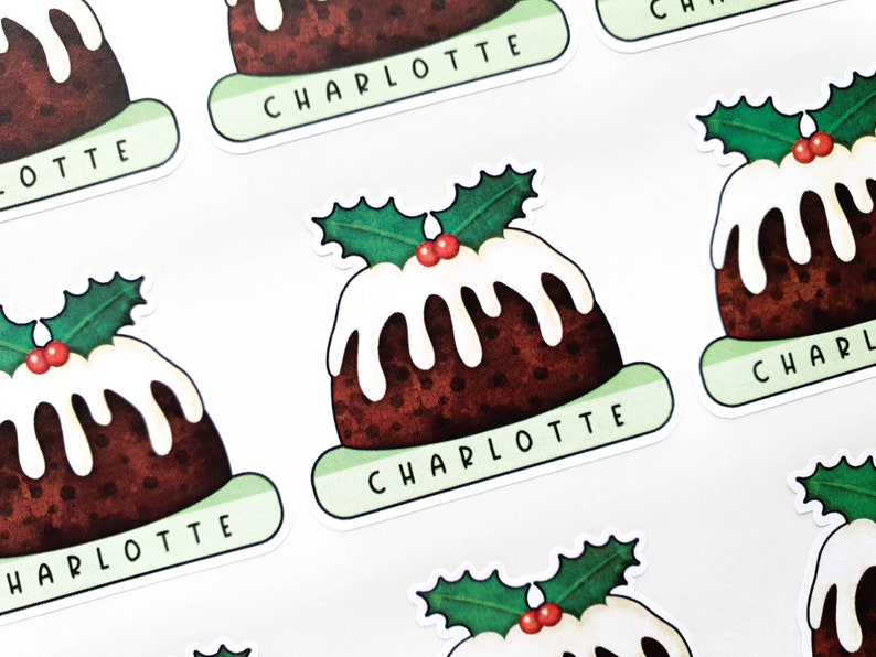 Personalised Christmas Pudding Stickers  Childrens Xmas Gift image 0
