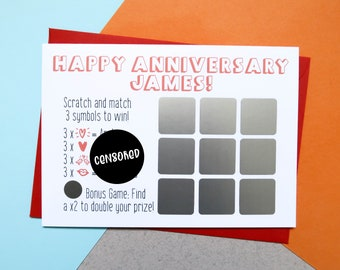 Personalised Rude Scratch Off Anniversary Card, Boyfriend Card, Anniversary Card, Rude Card, Boyfriend Gift, Dirty Card, Paper Anniversary