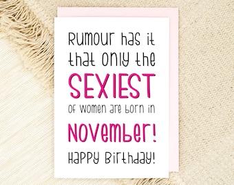 November Birthday Card - Girlfriend Birthday - Fiance Card - Friend Card - Wife Birthday - Sexy Birthday Card