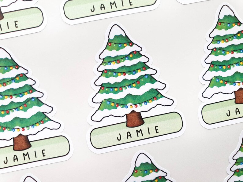 Personalised Christmas Tree Stickers  Childrens Xmas Gift  image 0