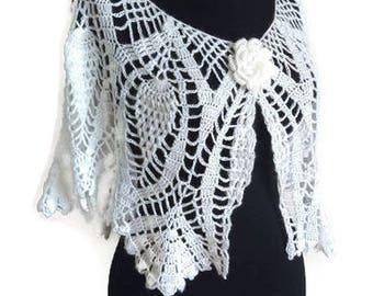 White Bridal Bolero,  White Crochet Wrap, Bridal Capelet, Bridal Shrug, Bridal Accessory, Bridal Shawl, Winter Wedding Shawl, fast shipping