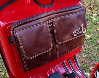 3a53dcbd3a53 Scooter Gifts Glove Box Rack Bag in Whiskey Brown Vegan Leather Scooter  Travel Case for Vespa