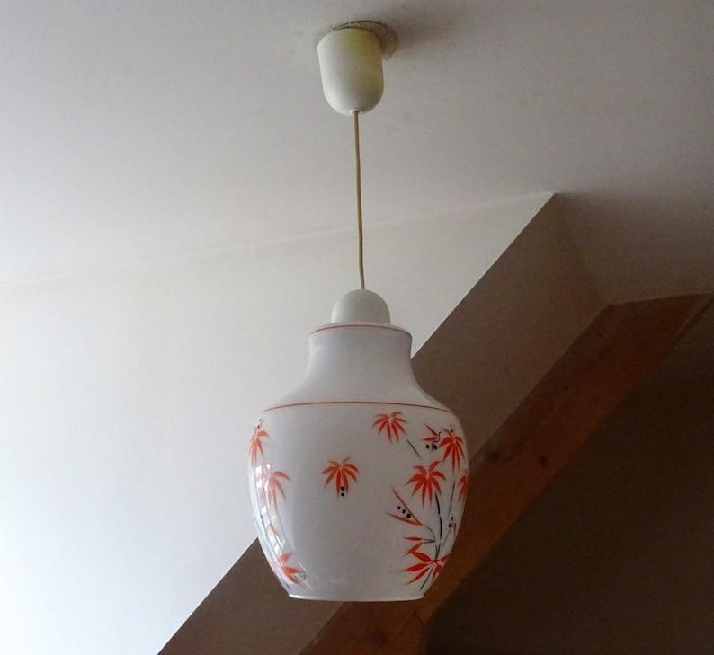 Pretty 1970s milk glass shadow light decorated with orange coconut trees-Lampe ceiling seventiesilluminati10