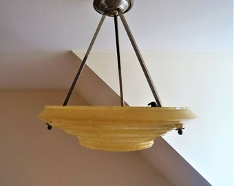 Art Deco 1930 s Clichy glass ceiling light moutonné yellow hanging ceiling light/illuminati10