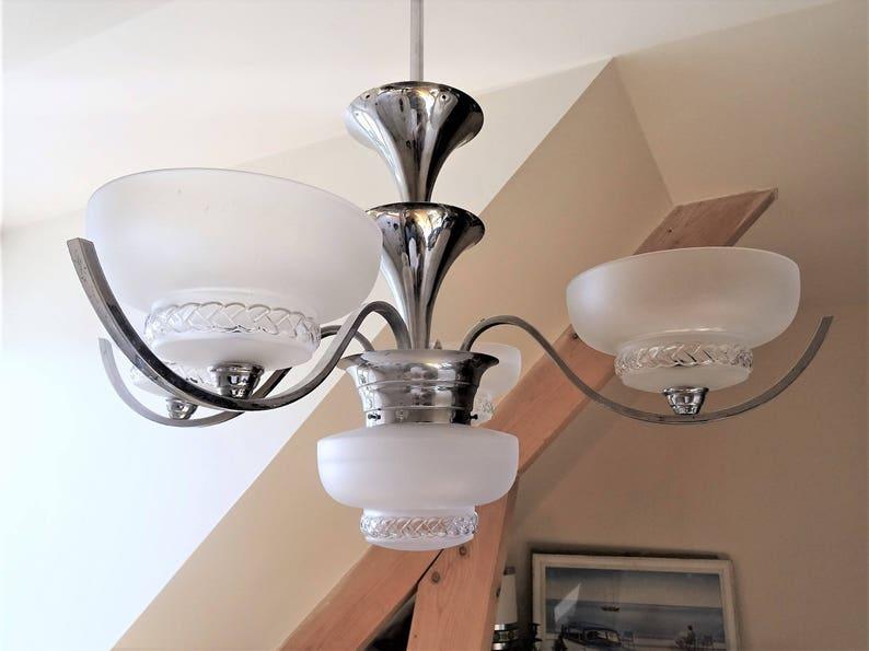 Antique white satin french Artdeco 1930 to a 5 glass candlestick and chrome quality VIP  illuminati10