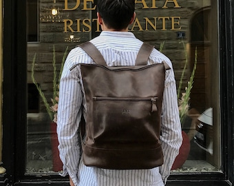 Brown LEATHER BACKPACK  / Handcrafted leather Rucksack with one front zipper pocket / Brown Leather bag