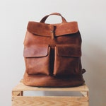 Hand crafted Travel LEATHER BACKPACK in cognac brown Color with LINING  / Big Citi Rucksack-diaper bag with two front pockets