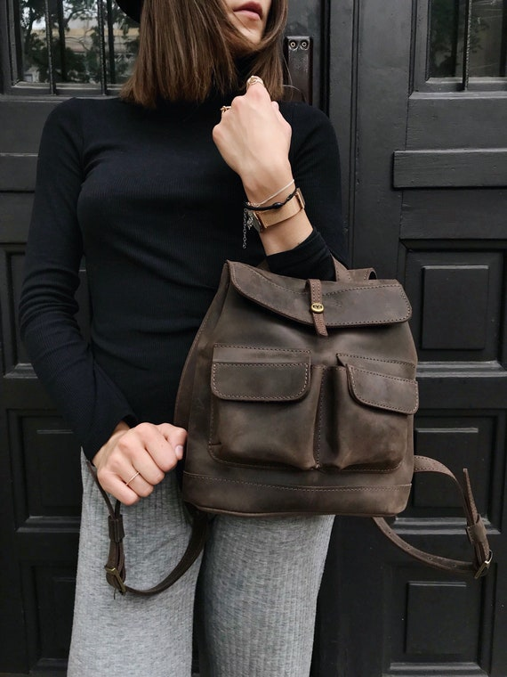 600c59b9e50d Small LEATHER BACKPACK   Baby Citi Backpack   Handcrafted