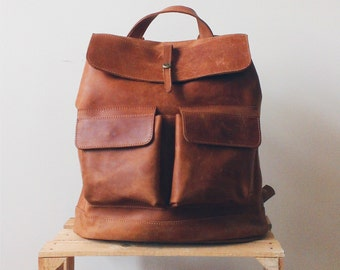 Hand crafted LEATHER BACKPACK in cognac brown Color  / Citi Rucksack with two front pockets made of full grain leather