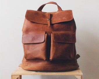 Handcrafted LEATHER BACKPACK in cognac brown Color with LINING  / Citi Rucksack - with two front pockets