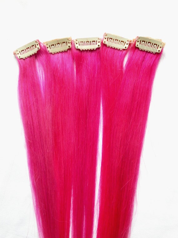 Hot Pink 100 Human Hair Extensions Double Wefted Clip In Etsy
