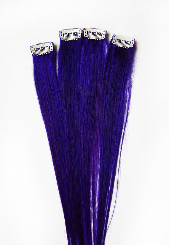Indigo Violet Hair Extensions Purple Hair Human Hair Clip Etsy