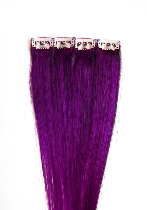 Magenta Purple Hair Extensions Human Hair Clip In Hair Clip Etsy