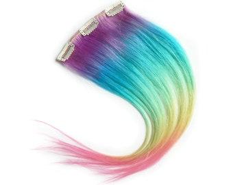 Rainbow Ombre Hair, Unicorn Extensions, Human Hair Extensions, Tie Dye Hair, Festival Hair, Colorful Extensions, Rainbow Hair Extensions