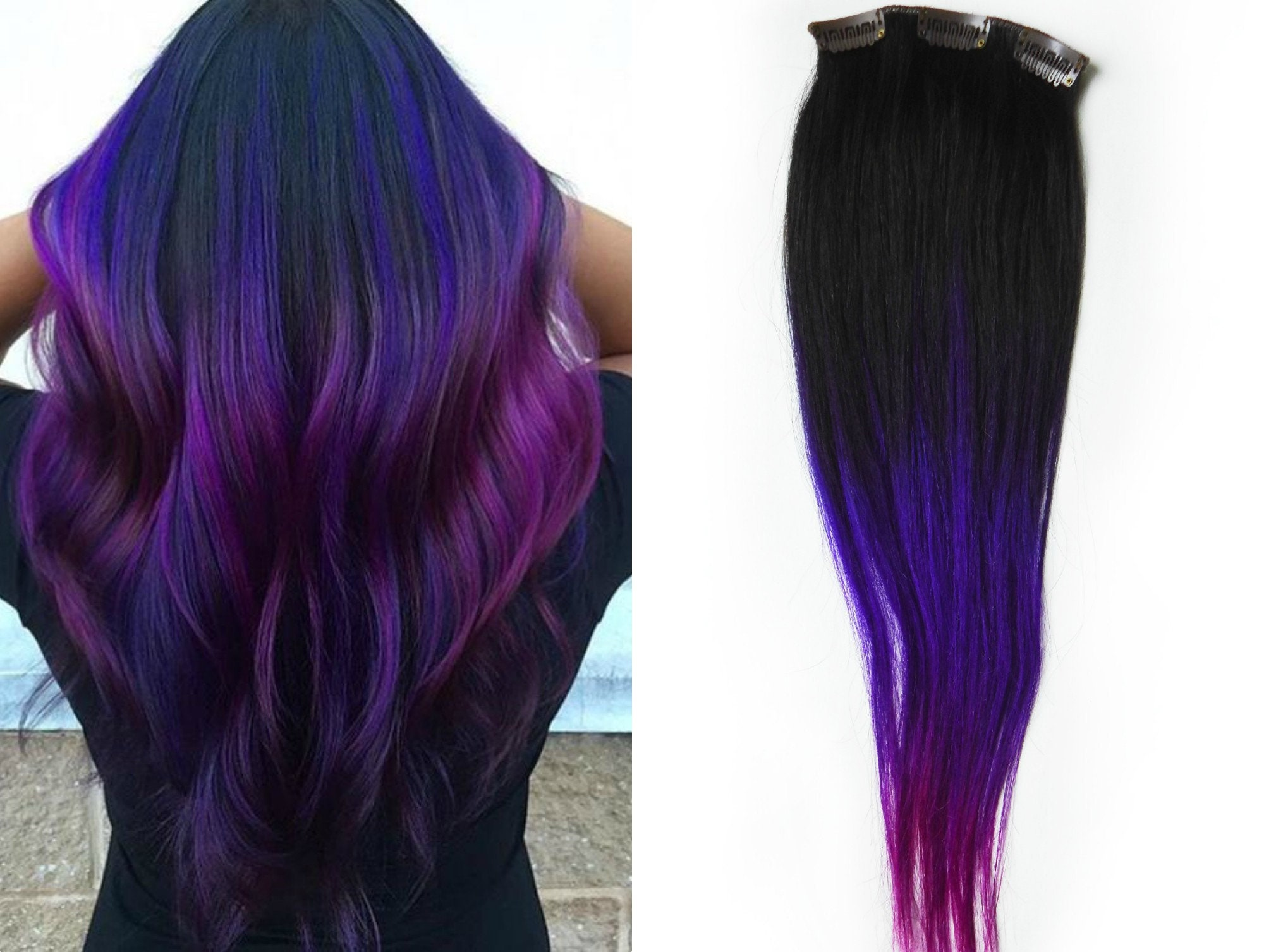purple ombre hair human hair extensions clip in extensions. Black Bedroom Furniture Sets. Home Design Ideas