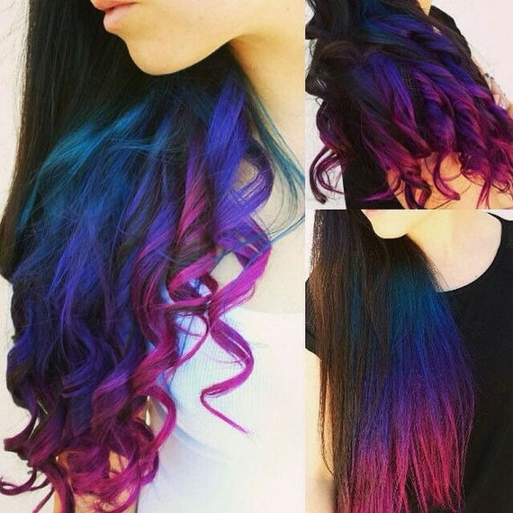 4 Pc Galaxy Ombre Hair Galaxy Extensions Blue Ombre Hair Etsy