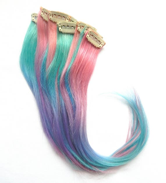 Pastel Cotton Candy Ombre Extensions 1 Pc 100 Human Etsy