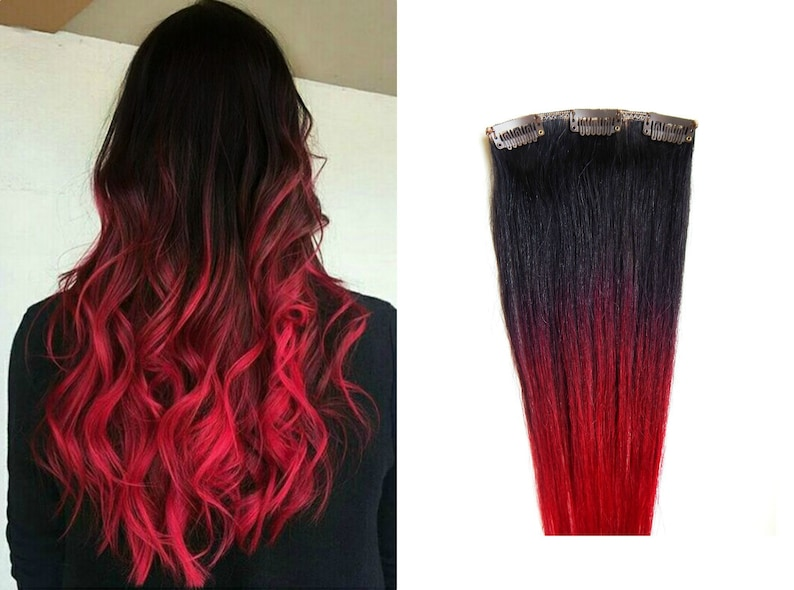 Brown Red Ombre Hair Extensions 160 Grams Full Set Of Hair Etsy