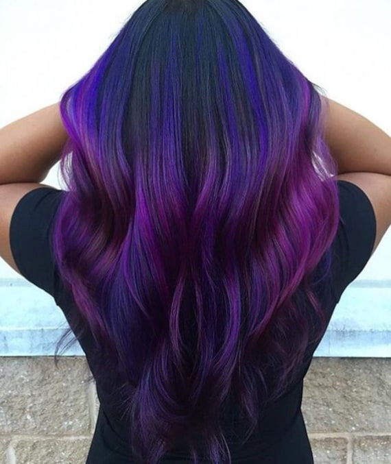 Purple Ombre Hair Human Hair Extensions Clip In Extensions Etsy
