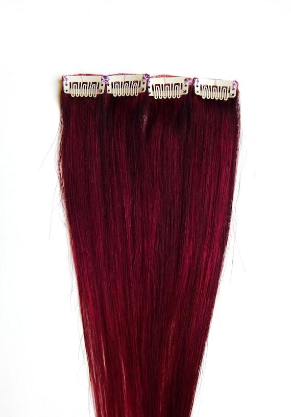 Red Velvet Hair Extensions Human Hair Clip In Hair Burgundy Etsy