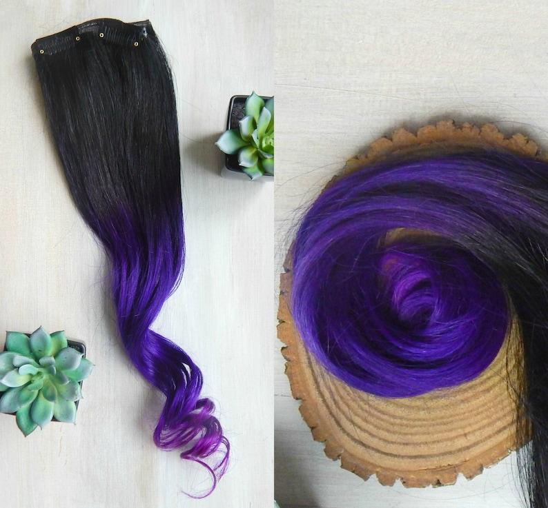 Purple Ombre Hair Human Hair Extensions Clip In Extensions Purple Ombre Hair Black Ombre Hair Ombre Extensions Violet Purple Hair