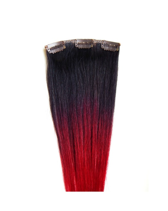 Red Ombre Hair Extensions 100 Human Hair Black To Red Etsy