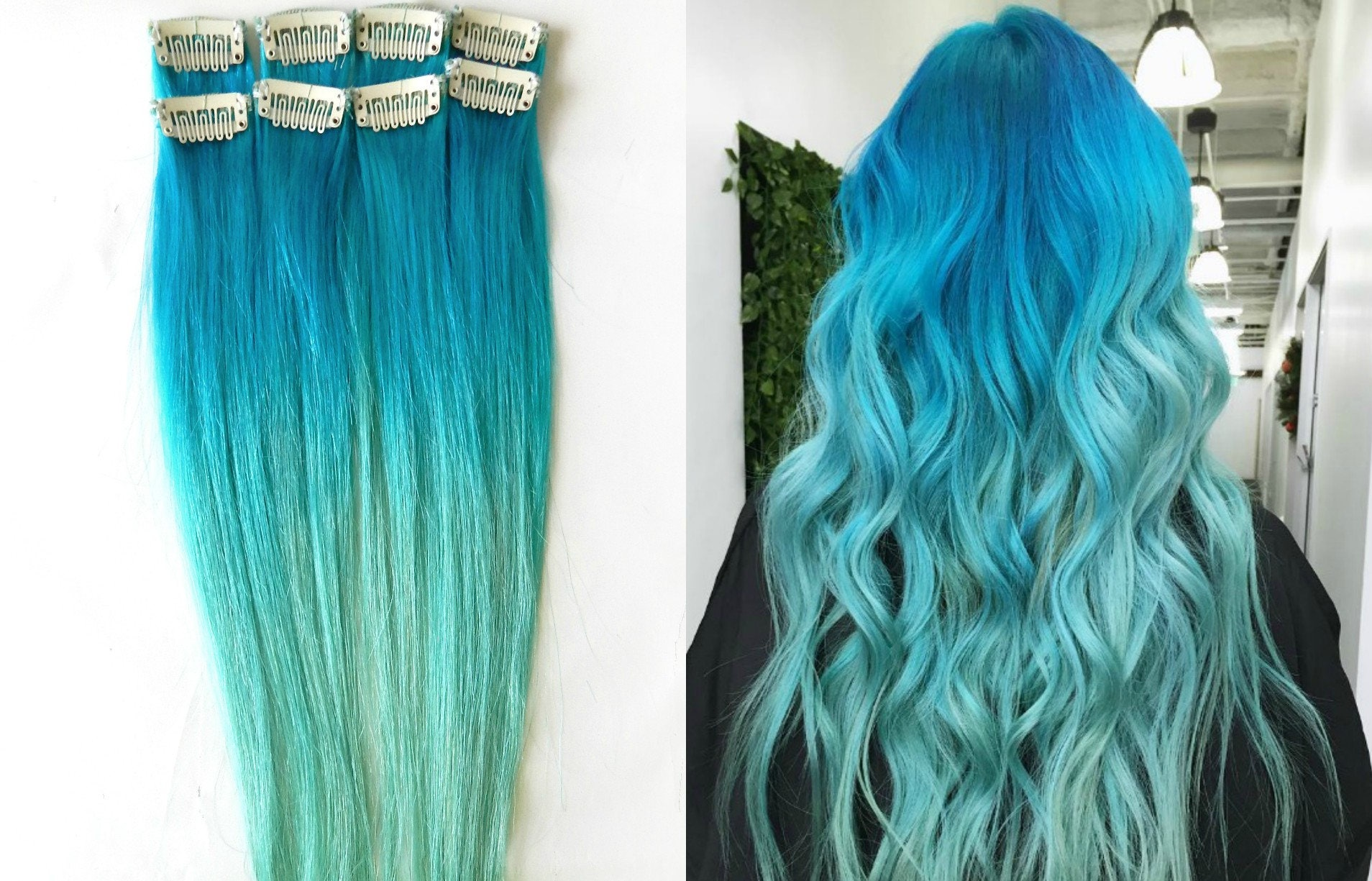 Mermaid Ombre Human Hair Extensions 1 Pc Blue Ombre Hair Etsy