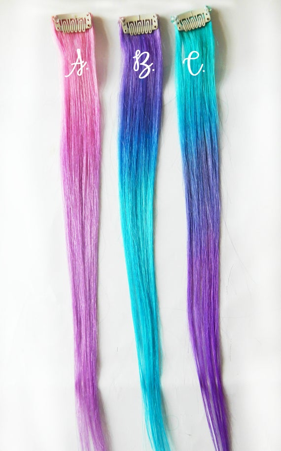 Mermaid Ombre Hair Extensions Cotton Candy Ombre Hair Hair Etsy