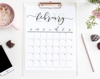 PRINTABLE 2018 Calendar Download   Calligraphy   Modern