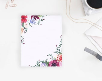 Floral Stationery | Watercolor | UNLINED | 4x5 Inches