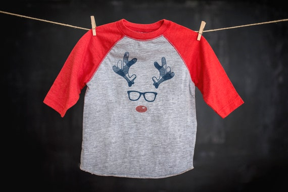 Youth Christmas Rudolph the Red Nosed Reindeer Boys Personalized T Shirt Tee Custom Name Gift party standing