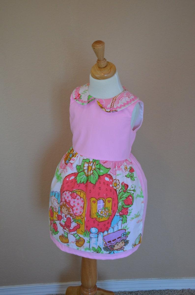 Strawberry Shortcake Dress . Shortcake Dress. Birthday dress. Party Dress. Peter Pan collar. Girls dress. Kawaii. Peppermint Patty.