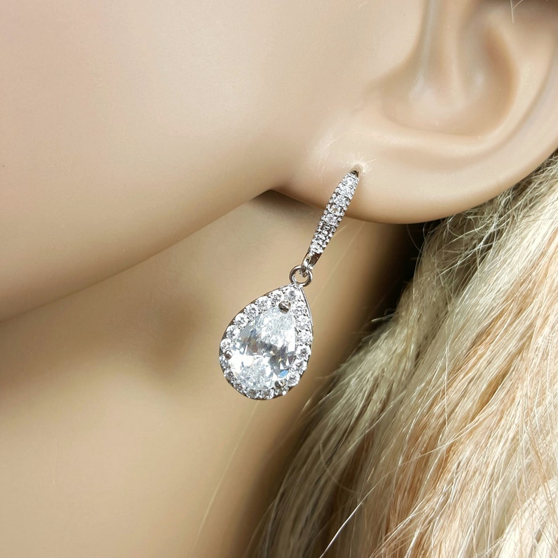 Nickel Free Ear Wires Bridesmaid Gift Earrings Bridesmaid Gift Crystal Teardrop Earrings Crystal Wedding Earrings