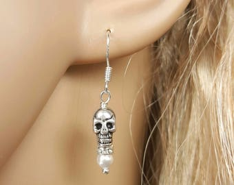 Pearl Skull Earrings, OOAK Bride, Halloween Wedding, Day of The Dead Jewelry, Dia De Los Muertos, Punk Goth Rockabilly, Pin Up Girl Earrings