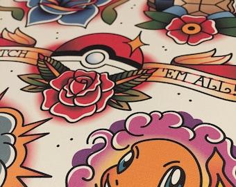 Pokémon tattoo flash print