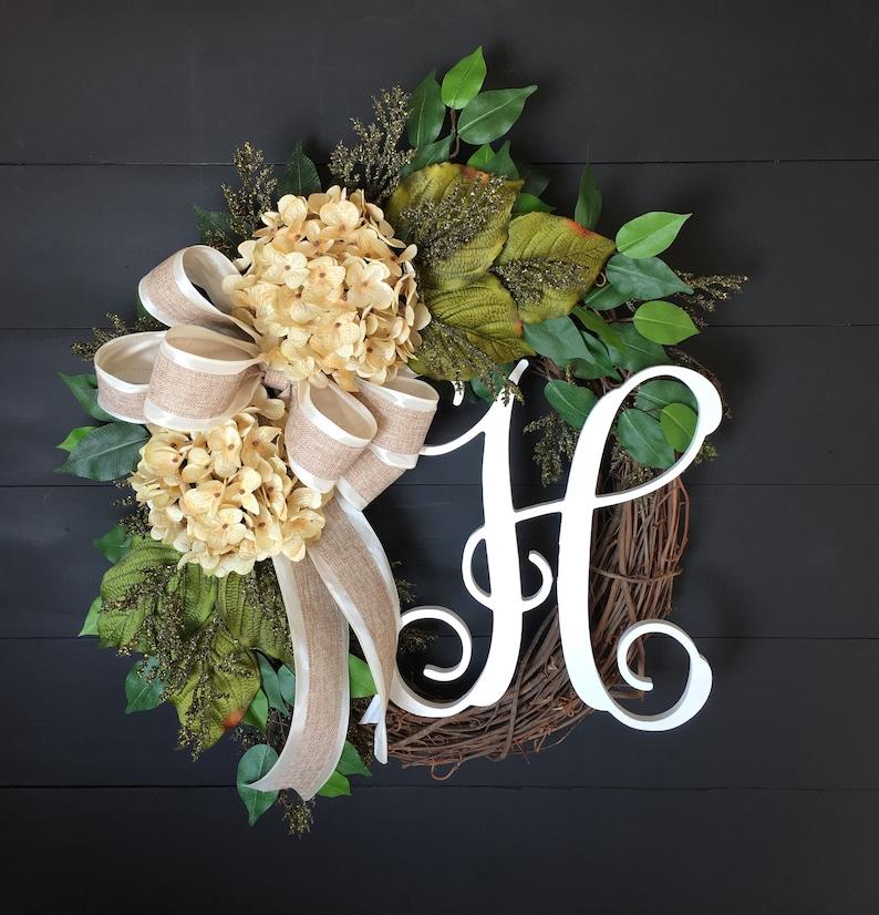 Wreaths For Front Door~ Wreaths For Front Door Year Round~ Hydrangea Wreath~ Monogram Wreaths For Front Door~ Rustic Wreaths For Front Door