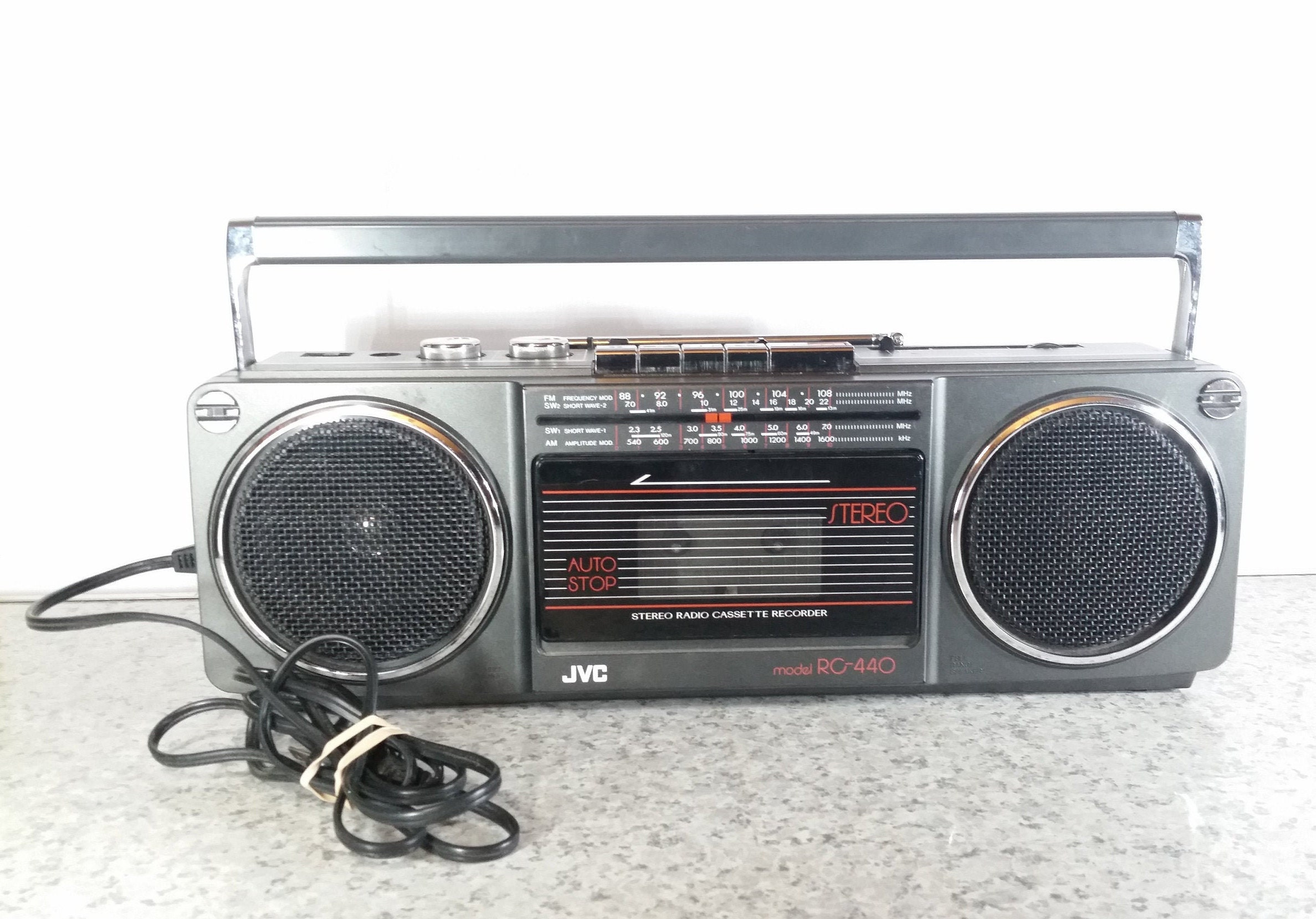 JVC RC-440 Boombox Radio Cassette Recorder Player Stereo Tested Works Am Fm  Shortwave Ghetto Blaster VTG 1990s Electric Battery Powered