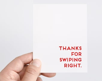 Boyfriend Anniversary Card | Swipe Right | Online Dating Card | Gift For Him | Thanks For Swiping Right | Partner Card | Anniversary Gift